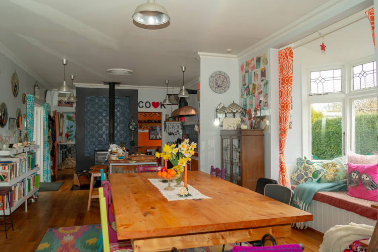 Retro Dining Room, Orange Scullery, Orange Interiors, Retro Home