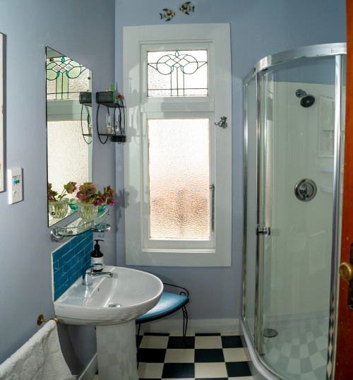 Chequerboard Flooring, Retro Bathroom, Blue Bathroom