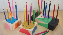 This pencil holder is a colourful study buddy