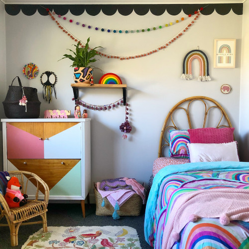 Kids Bedroom, Upcycling, Scalloped Trim, Pink Bedroom, Resene Paint