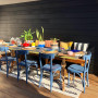Outdoor Dining, Eclectic style, Resene Paint, Blue Chairs, Al Fresco Living