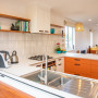 Orange Kitchen, Retro Renovation, Retro Kitchen, Subway Tiles